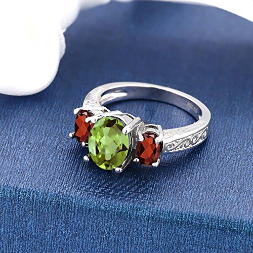 Gem Stone King 925 Sterling Silver Green Peridot Red Garnet 3-Stone Women s Ring 2.45 Ctw Oval Gemstone Birthstone Available 5,6,7,8,9
