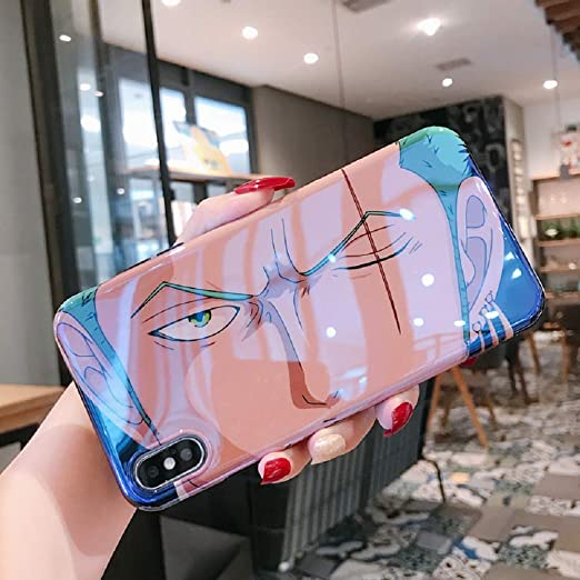 Cute Stickers Roronoa Zoro Case for iPhone 11 Pro 7 8 Plus X XR XS Max Phone Cases Japan Anime Luffy One Piece Soft TPU Back Cover Coque (2, iPhone ...