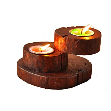 natural wood candle holder set tealight votive candle holders vintage decoration for tabledinner - Christmas Log Candle Holder Decorations