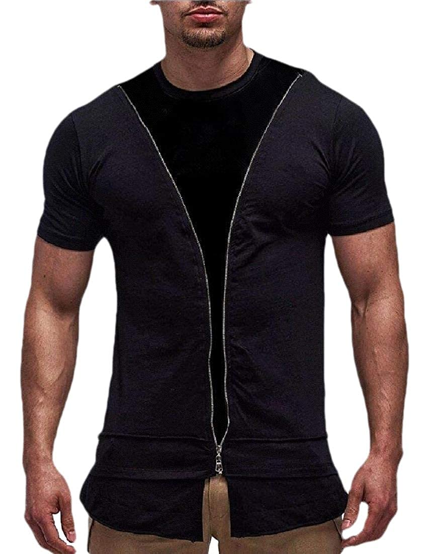 Cromoncent Mens Fashion Top Zipper Tee Short Sleeve Contrast Color T-Shirts