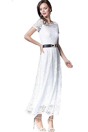 Zumeet Women Hollow Lace Round Neck Long Party Dress White at Amazon Women s  Clothing store  0957e7e26