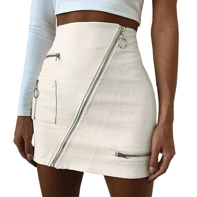 on sale ee0b8 55b25 ODJOY-FA Damen Röcke Sexy Lederrock Leder Reißverschluss ...