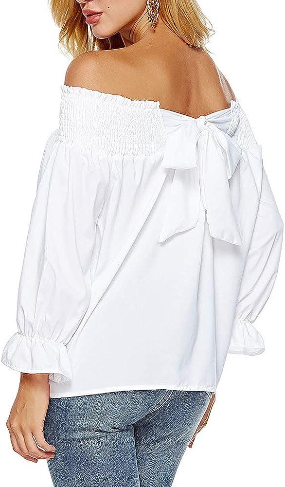 Landove Tee Shirt Manche Bouffante Femme Epaule Denude Dos Nu avec Noeud