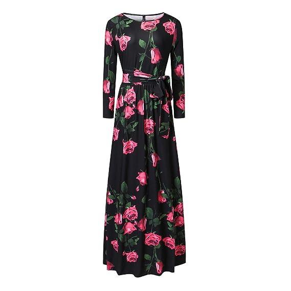 iShine Robe de Femme Fleurs Rose Imprimé Jupe Long avec Manches Longue Col  Rond Taille Elastique bbf8dc4ebb0