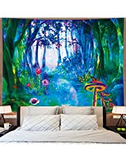 Amonercvita Fantasy Forest Trees Tapestry Trippy Mushroom and Cactus Tapestry Psychedelic Misty Nature Landscape Tapestry Wall Hanging for Bedroom