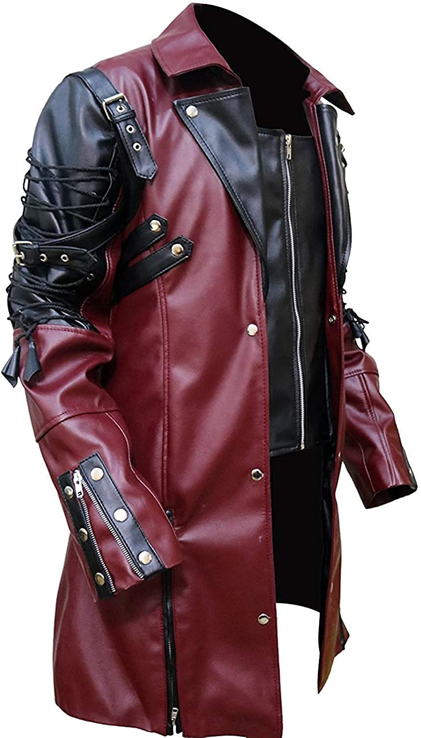 Men Red and Black Goth Matrix Trench Steam Punk Gothic PU Leather Coat