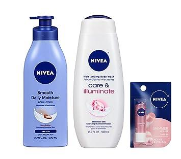 Bundle of Nivea Care & Illuminate Body Wash, Shea Butter Lotion & Shimmer Lip Care
