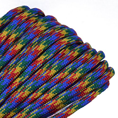 Bored Paracord - 1', 10', 25', 50', 100' Hanks & 250', 1000' Spools of Parachute 550 Cord Type III 7 Strand Paracord Well Over 300 Colors - Autism Awareness - 100 Feet]()