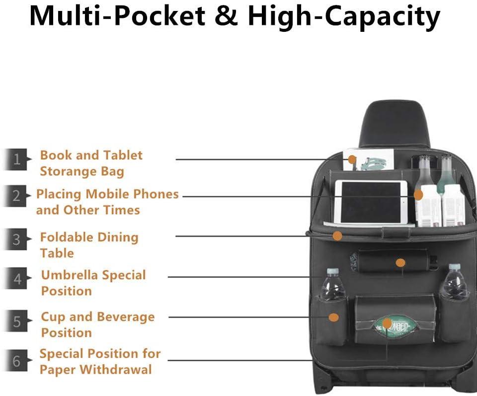 2 St/ücke Tablet-Halter f/ür Reisende Speicherflaschen-Spielwaren und usw. Rigrer Auto-R/ücksitz-Organisator PU-Leder-Autositz-R/ückenspeicher Schwarzes