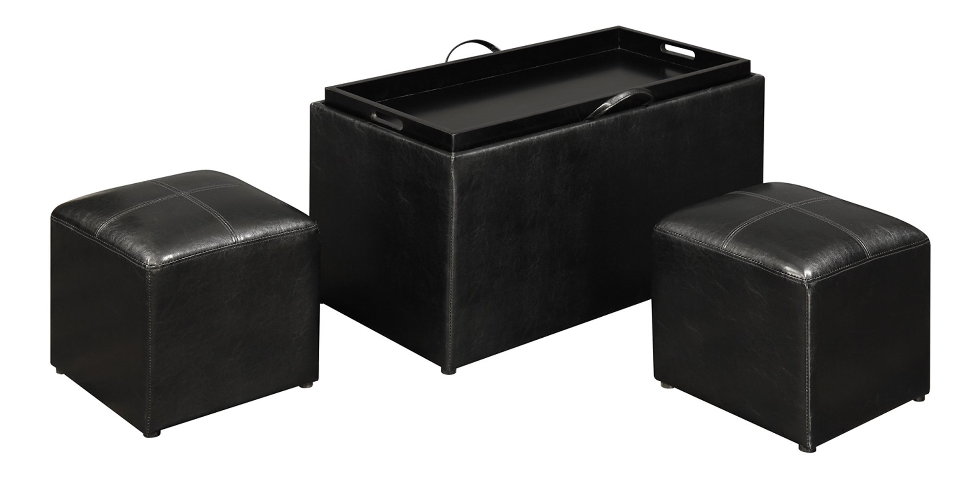 Convenience Concepts Designs4Comfort Sheridan Storage Bench with 2 Side Ottomans, Black by Convenience Concepts