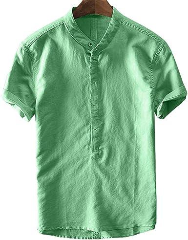 TUDUZ Camisetas Hombre Verano Manga Corta De Lino De Fresco Y Fino Transpirable Camisas Colgante De Cuello Tops Gradiente TeñIdo: Amazon.es: Ropa y accesorios