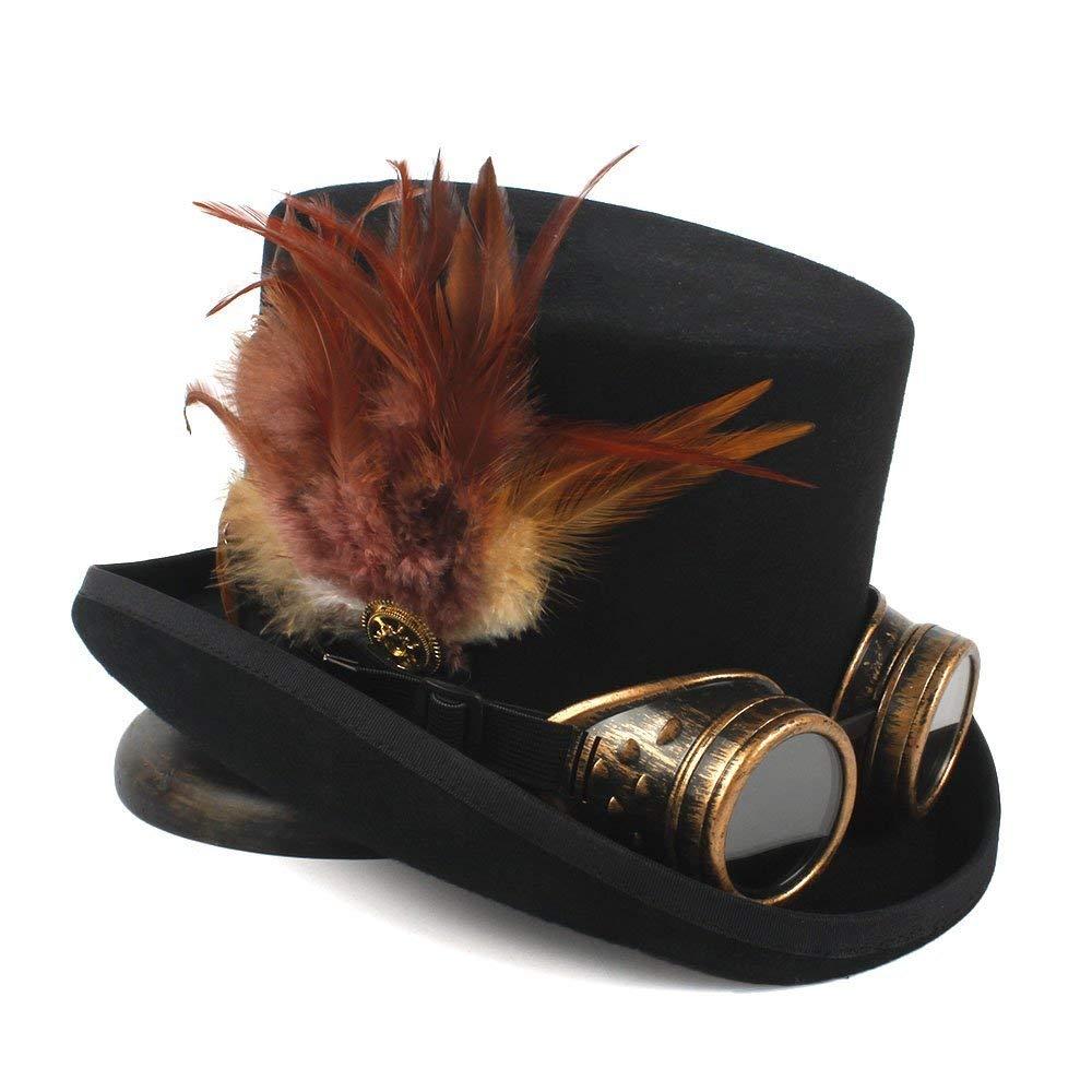 Achun Mütze Steampunk Top Hat 4 Größe Wolle Frauen Männer Top Fedora Hut Tea Party Hut