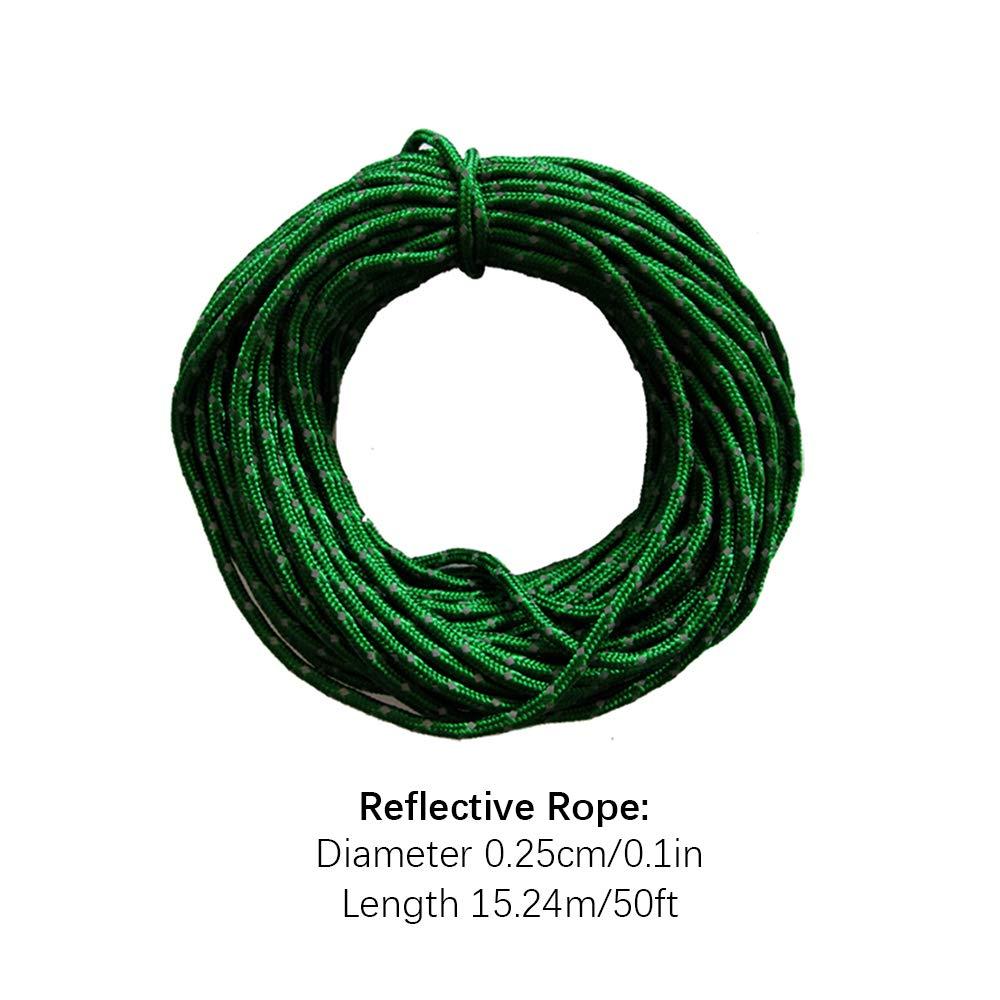 cuerda fija azul 15,24 metros Wankd Cuerda Reflectante para camping al aire libre cubierta clavos 13 * 18 * 12cm cuerda resistente al viento cuerda de almacenamiento