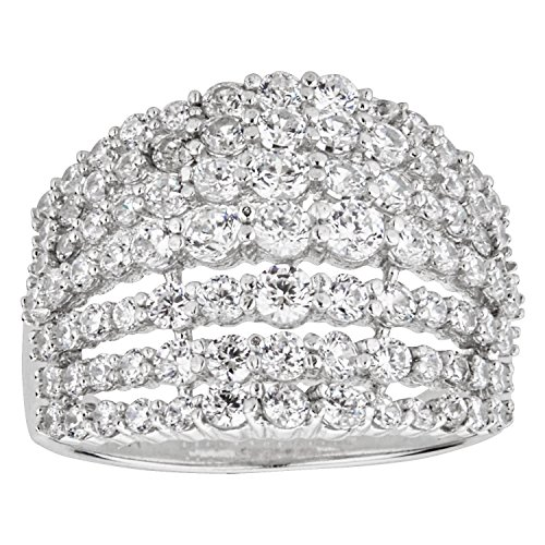 Sterling Silver Rhodium 7 Row Graduated Round Dome Cubic Zirconia Ring,9 (Pave Dome Set Ring)