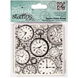 DOCrafts Papermania Square Cling Urban Stamps 4-Inch, Time Pieces
