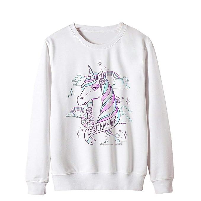 Sudaderas Mujer Otoño Invierno Elegantes Manga Largo O Cuello Unicornio Jersey Sweatshirts Joven Moda Casuales Jumper