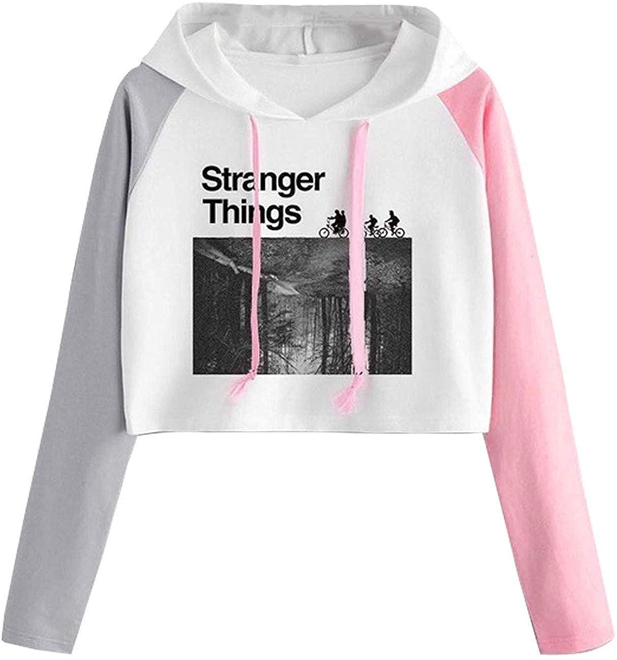 Sudadera Stranger Things 3 Mujer Corta T-Shirt Camisetas de Manga Larga con Capucha Chicas Impresi/ón Cortita Deportivo Casual Sweatshirt Sudadera Stranger Things Ni/ña
