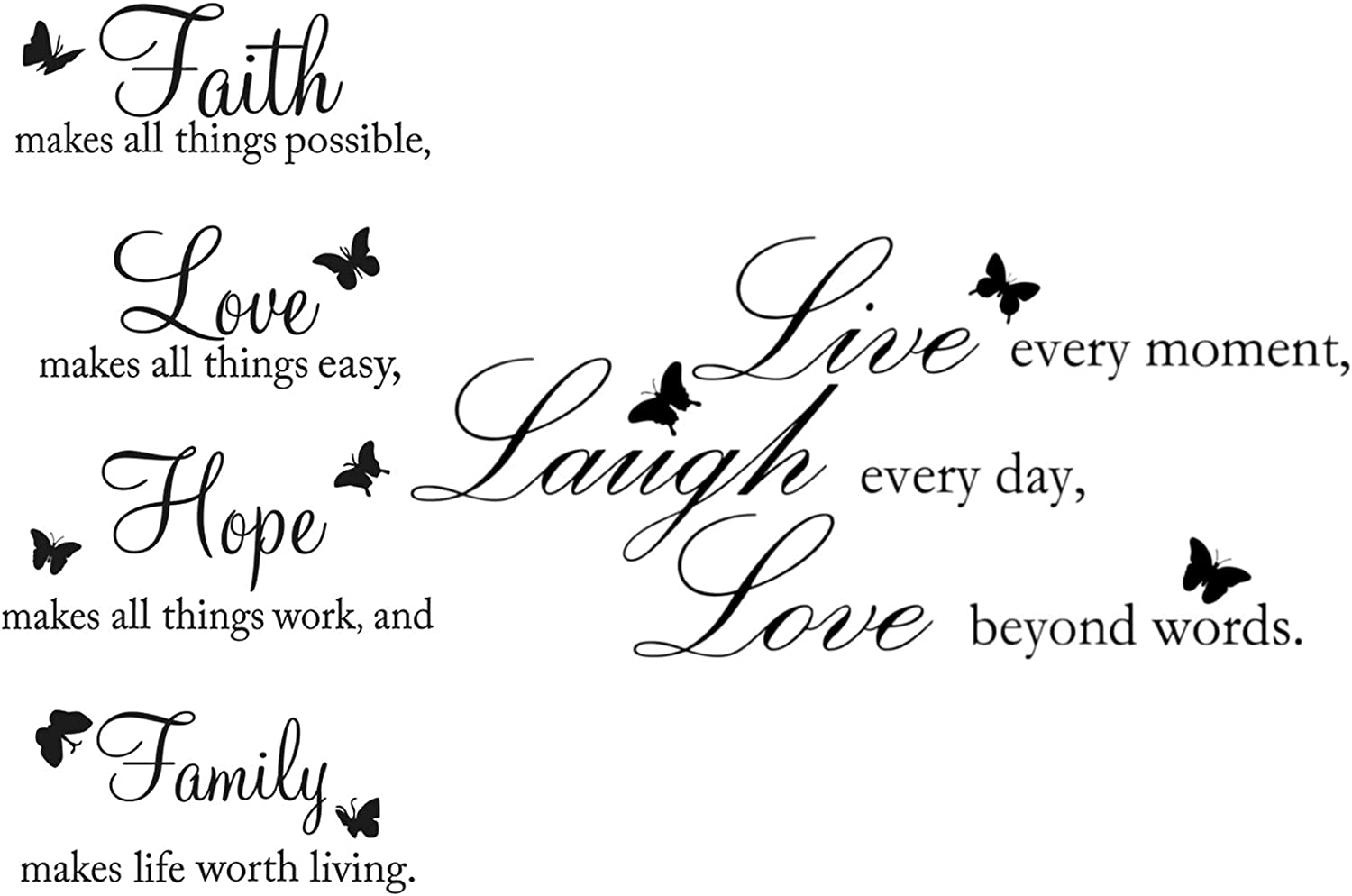 Zonon 2 Pieces Vinyl Wall Decals Faith Makes All Things Possible Live Laugh Wall Love Decals Wall Stickers Quotes Inspirational Decals Butterfly Wall Quote Sayings Stickers for Home Decors