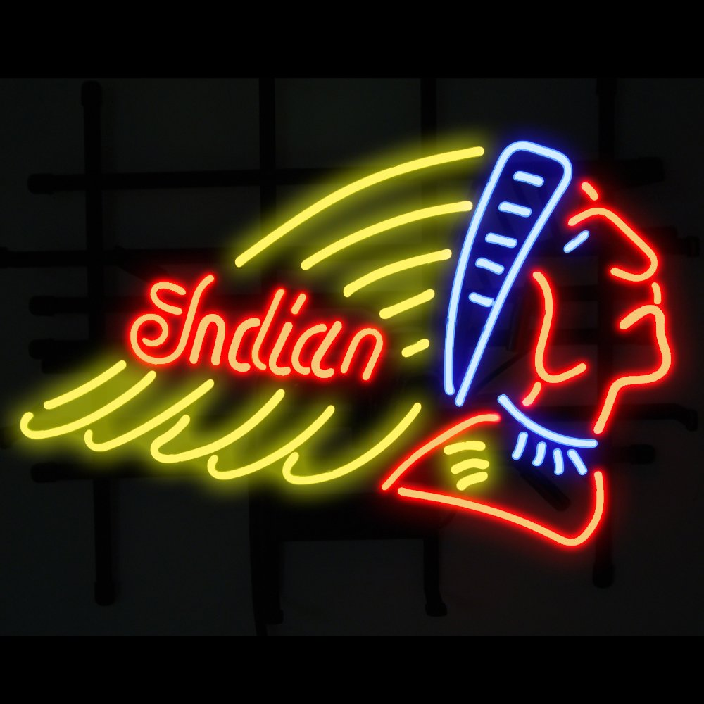 India Motorcycle Real Glass Handcraft Neon Light Signs 19x15