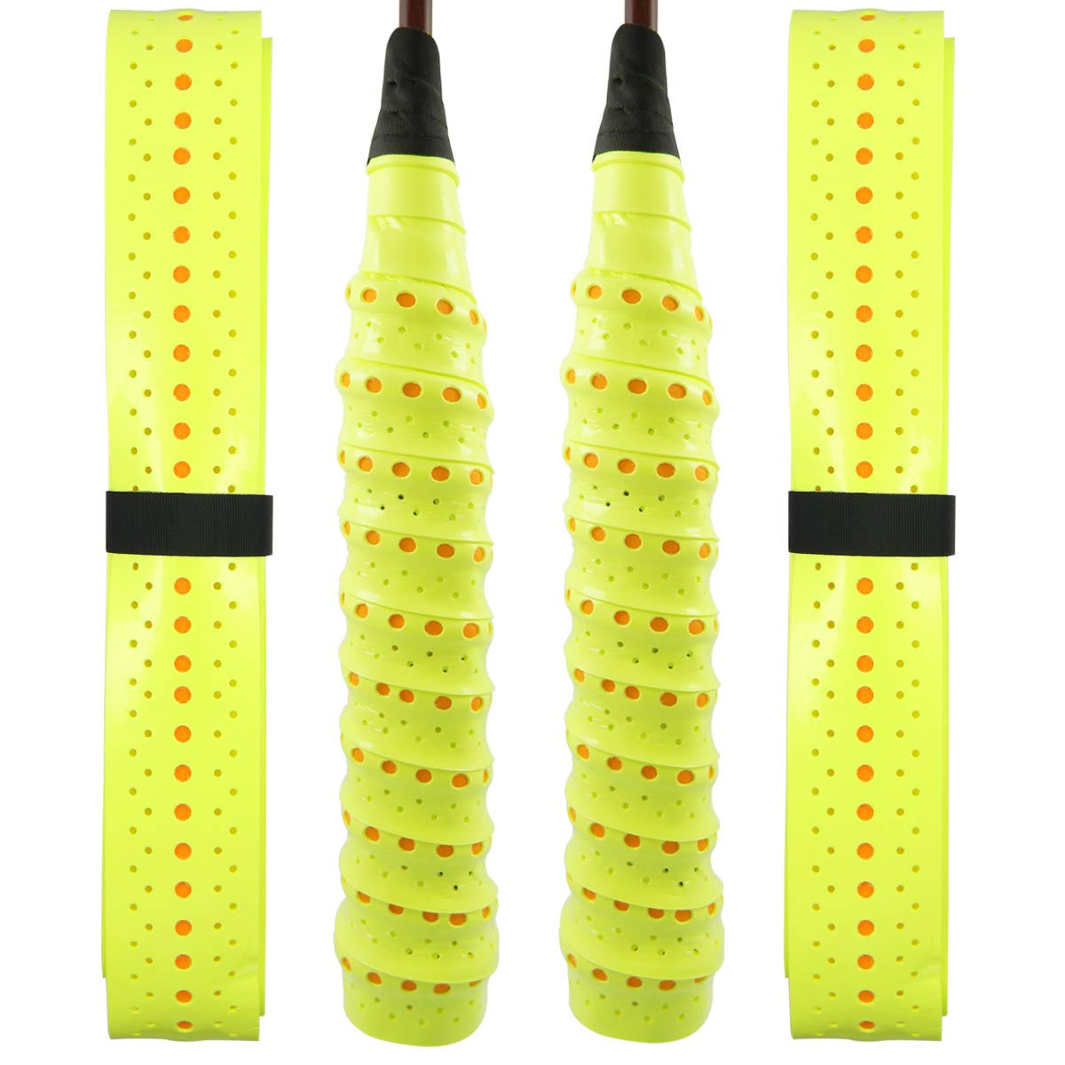 Quality Yes QY 2Pack Widened Perforated Super Absorbent Tennis Racket Overgrip Anti Slip Badminton Racket Tape Wrap Table Tennis Racket Tape (Two-Tone Fluorescent Yellow)