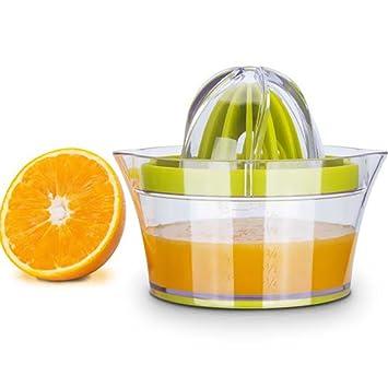 Exprimidor de cítricos con recipiente de almacenamiento, apriete manual de limón naranja, tapa antideslizante para rotar limas, capacidad de 35,5 ml: ...