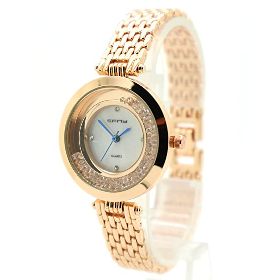 ec793811f78269 Image Unavailable. Image not available for. Color: SFNY Women's Quartz  Rhinestone Roes Gold Bracelet Watch Crystal Stainless Steel Element, Casual  Simple ...