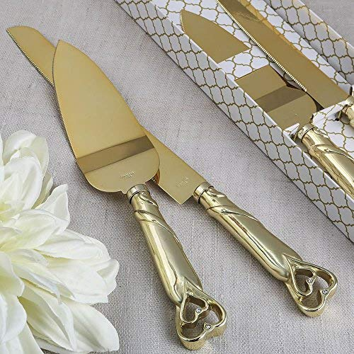 Fashion Craft 2536 Two Piece cake knife set from fashioncraft, One Size, Yellow by FASHIONCRAFT