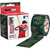 """RockTape Kinesiology Tape for Athletes, Water Resistant, Reduce Pain & Injury Recovery, 2"""" x 16.4 Feet, Uncut, MLB - Oakland As"""
