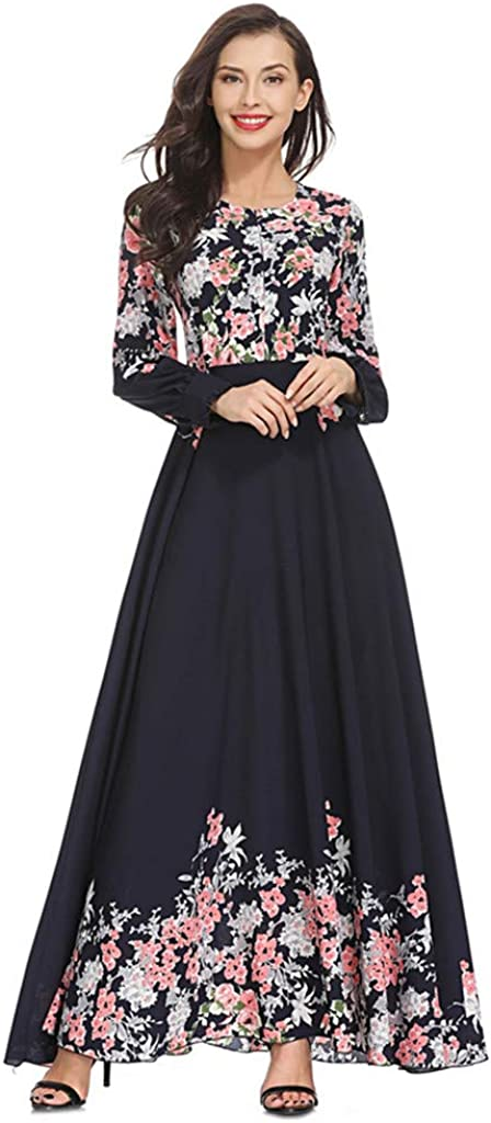 RISTHY Musulmana Vestidos Largos Suelta Estampado Floral Musulmán Abaya Dubai Turquia de Invierno Maxi Vestido Islámica Árabe Kaftan Dubai para Las Mujeres Ropa Vestidos Elegante