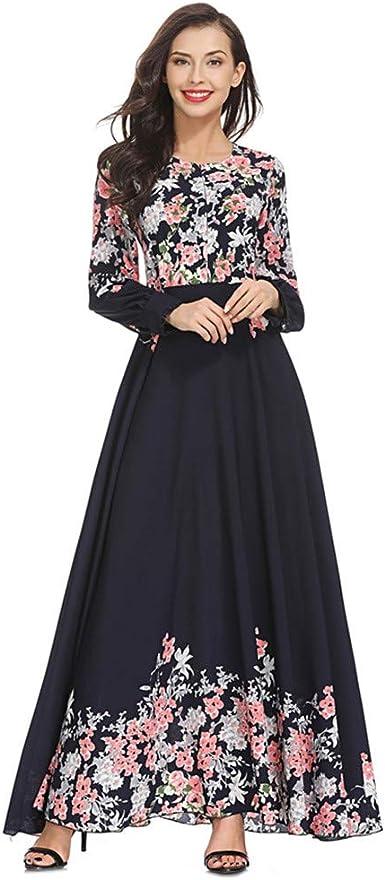 RISTHY Musulmana Vestidos Largos Suelta Estampado Floral Musulmán Abaya Dubai Turquia de Invierno Maxi Vestido Islámica Árabe Kaftan Dubai para Las Mujeres Ropa Vestidos Elegante: Amazon.es: Ropa y accesorios