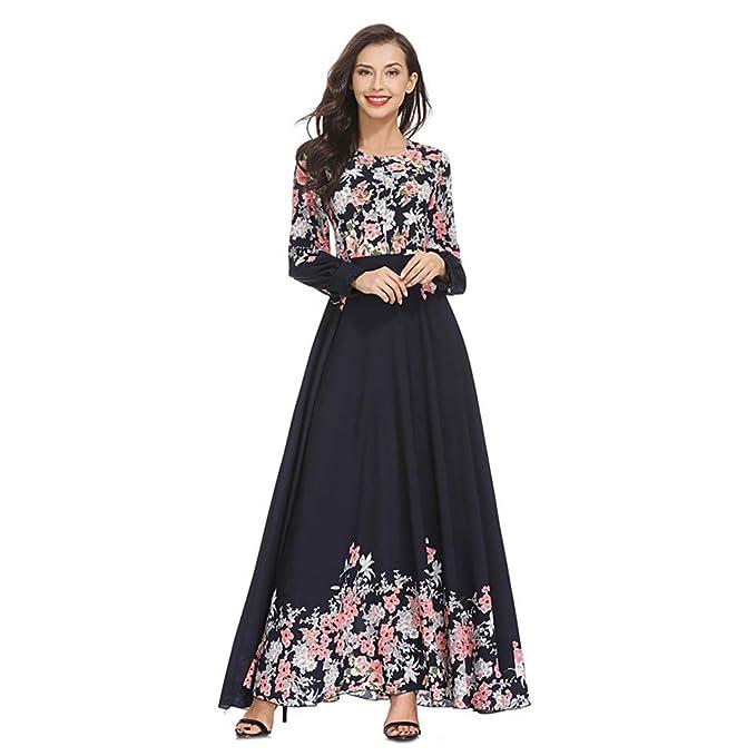 6a599e651 RISTHY Musulmana Vestidos Largos Suelta Estampado Floral Musulmán Abaya  Dubai Turquia de Invierno Maxi Vestido Islámica Árabe Kaftan Dubai para Las  Mujeres ...