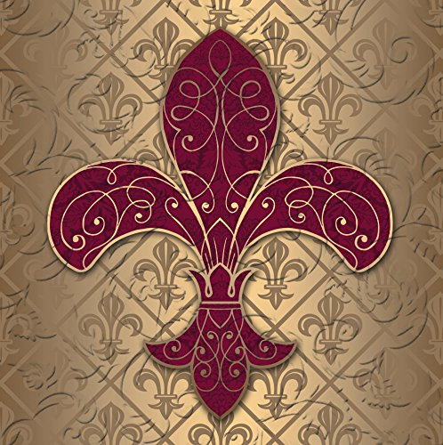 Fleur De Lis Napkin - Cypress Home Baroque Splendor Fleur de Lis Embossed Paper Cocktail Napkins, 20 count