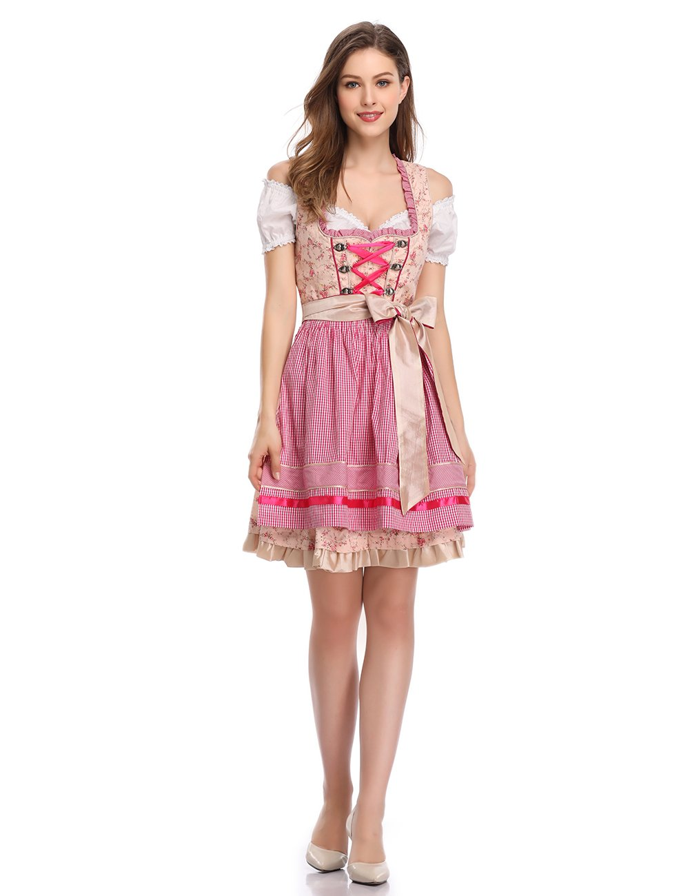 GloryStar Women's German Dirndl Dress Costumes for Bavarian Oktoberfest Carnival Halloween (M, Champagne Pink)