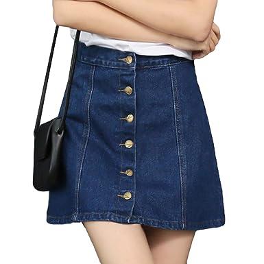 32e6ce3982 NiSeng Femme Élégante Taille Haute A-Line Court Jupe Jupe en Jean avec  Bouton Devant