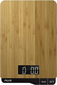 American Weigh Scales - Digital Kitchen Scale - Eco-Friendly Bamboo, Brown, 11lbs x 0.1oz - ECO-5K