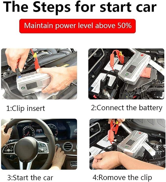 EU-Stecker Auto-Starthilfe tragbare tragbare Auto-Starthilfe JX34 Silber 12V 4USB 21000mAh Notstart-Netzteil-Werkzeugsatz 110V-240V