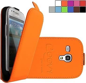 COOVY® Funda para Samsung Galaxy S3 Mini GT-i8200 GT-i8190 GT-i8195 Cubierta Delgado, con Tapa, lámina Protectora de Pantalla | Color Naranja: Amazon.es: Electrónica