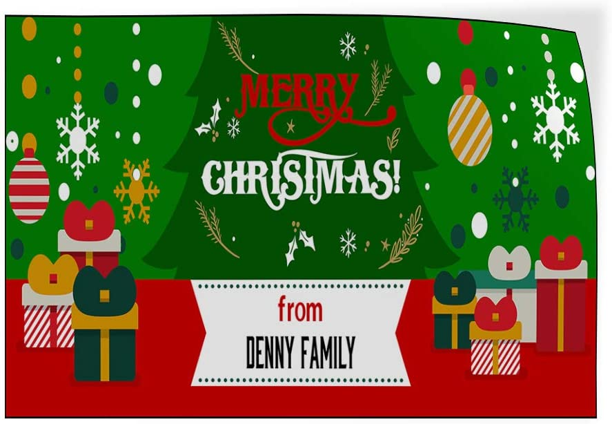 Custom Door Decals Vinyl Stickers Multiple Sizes Merry Christmas from Name B Lifestyle Merry Christmas Outdoor Luggage /& Bumper Stickers for Cars Green 72X48Inches Set of 2