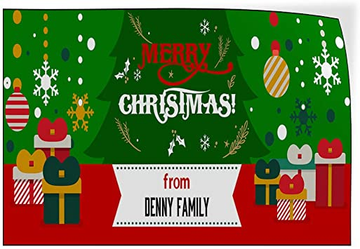 Custom Door Decals Vinyl Stickers Multiple Sizes Merry Christmas from Name A Lifestyle Merry Christmas Outdoor Luggage /& Bumper Stickers for Cars Red 72X48Inches Set of 2
