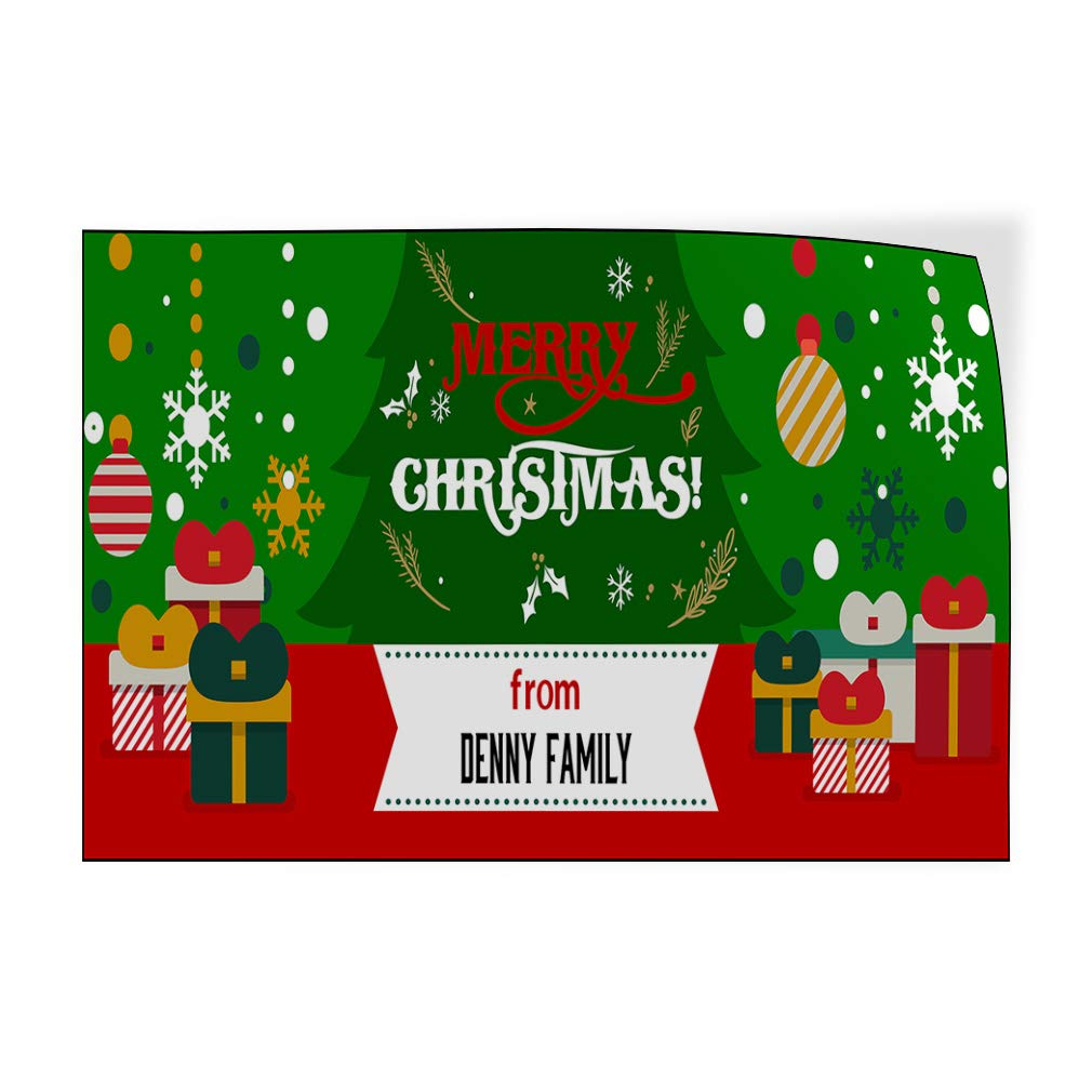 Custom Door Decals Vinyl Stickers Multiple Sizes Merry Christmas from Name B Lifestyle Merry Christmas Outdoor Luggage /& Bumper Stickers for Cars Green 14X10Inches Set of 10