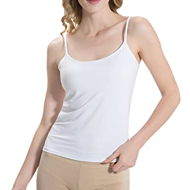 cff21aed8ab60 HBY Womens Camisole Built in Shelf Padded Bra Cami Bra Adjustable Straps  Tank Top Solid Color  Amazon.co.uk  Clothing