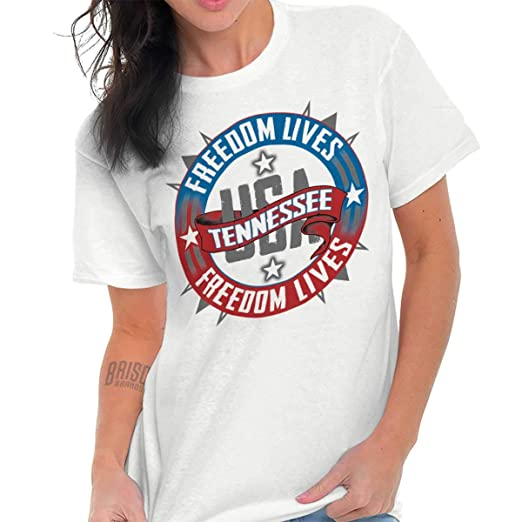 11e5e2c33 Classic Teaze Freedom Tennessee State USA T Shirt American Flag Patriotic  Ladies T Shirt White