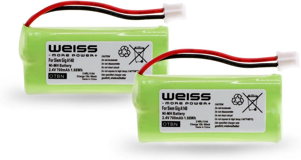Batería Weiss para Siemens Gigaset A12,A120,A14,A140,AS140,AL4H, A145,AS15,A160,A165,A240,A24,A245,A260, A26,A265,Q063, T-Com Sinus 100, Universum CL15,SL15(reemplazo de: V30145K1310