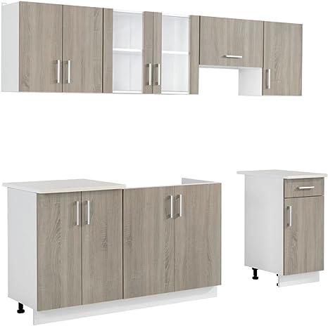 Oak Look Kitchen Cabinet Unit 7 Pcs Amazon De Kuche Haushalt