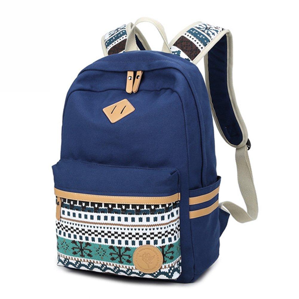 Backpack Mochilas Escolares Marsoul Mujer Mochila Escolar Lona Grande Bolsa Estilo Étnico