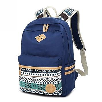 Backpack Mochilas Escolares,Marsoul Mujer Mochila Escolar Lona Grande Bolsa Estilo Étnico Vendimia Casual Colegio Bolso para Chicas (Gypsy Azul): Amazon.es: ...
