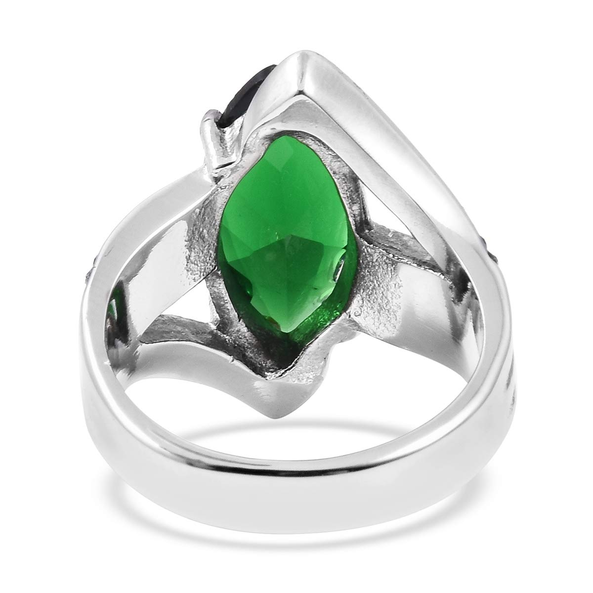 Shop LC Delivering Joy Statement Ring Stainless Steel Marquee Green Cubic Zirconia CZ Gift Jewelry for Women Size 10 Ct 7.8