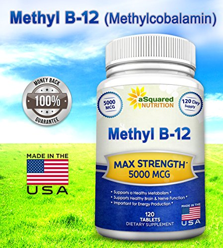 Vitamin B12 - 5000 MCG Supplement with Methylcobalamin (Methyl B-12) - Max Strength Vitamin B 12 Support to Help Boost Natural Energy & Metabolism, Benefit Brain & Heart Function - 120 Tablets