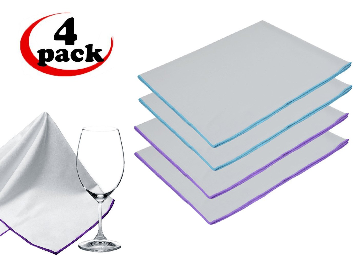 Sinland Microfiber Glass Polishing Cloths Thick Lint -free Drying Towels For Wine Glasses Stemware Dishes Stainless Appliances 20 Inch X 25 Inch Pack of 4