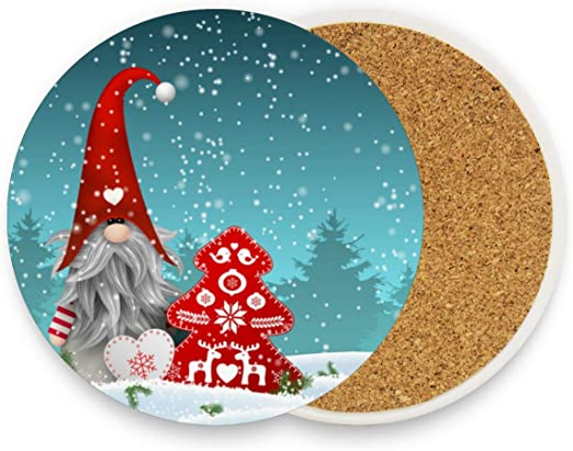 Amazon Com Christmas Tomte Wnter Coasters For Drinks Set Of 1